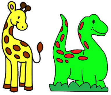 giraffen en dino's